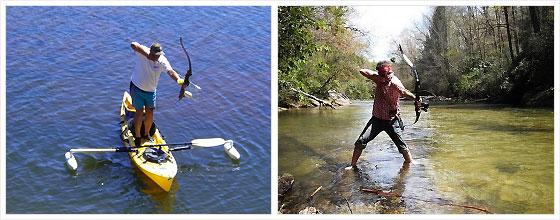 охота на рыбу с луком и стрелами